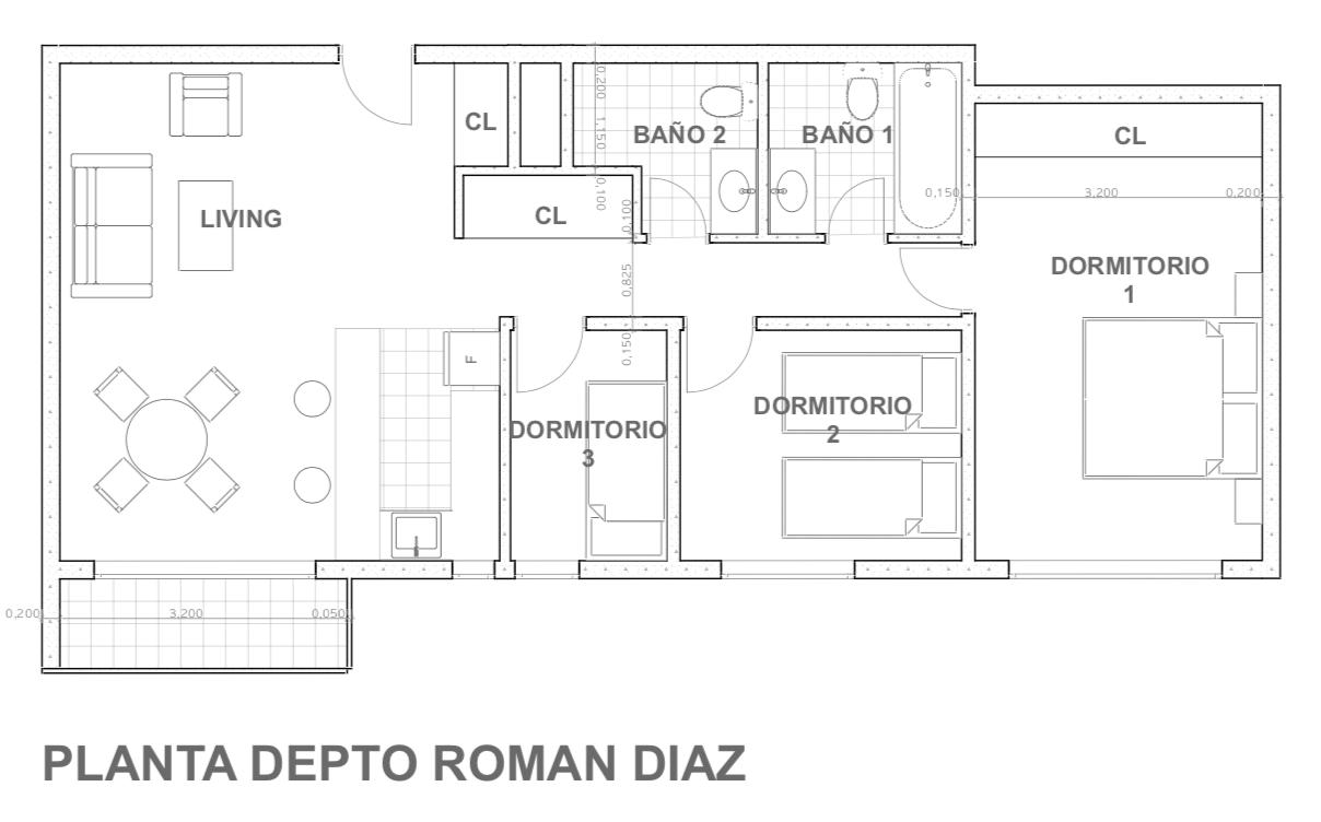 Planta departamento Román Díaz